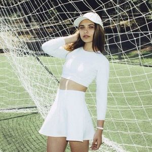 American apparel brigitte white mini circle skirt